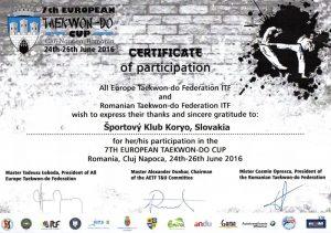 7. Európsky Taekwon-Do pohár – Cluj Napoca, Rumunsko